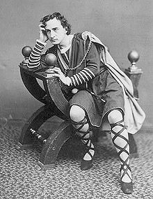 Edwin Booth as Hamlet, contemplating whether to continue life